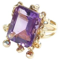 10.62 ctw Amethyst and Colorful Gemstone Tassel Charm Ring 14k Gold