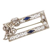 Art Deco Filigree Sapphire and Diamond Bow Pin / Brooch 14k White Gold