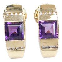 14k Gold 3.12 ctw Amethyst and Diamond Earrings