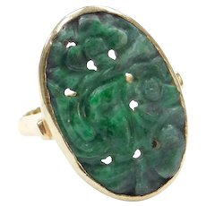 Floral Carved Chinese Jade Ring 14k Gold