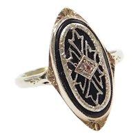 Art Deco Onyx and Diamond Cutout Detail Navette Shape Ring 14k White Gold