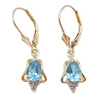 2.08 ctw Blue Topaz and Diamond Dangle Earrings with Lever Backs