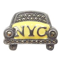 Sterling Silver NYC Taxi Cab Car Pin / Brooch Yellow Enamel and Marcasite ~ New York City