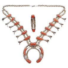 "Leon Kirlie Navajo Native American Red Coral Squash Blossom Necklace and Ring Set 26 1/2"" Sterling Silver"