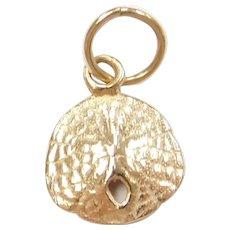 14k Gold Tiny Sand Dollar Charm
