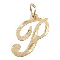 14k Gold Letter P Charm