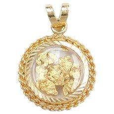 14k & Pure 24k Gold Nugget Pendant