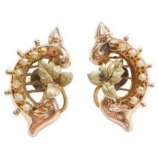 Victorian Seed Pearl Leaf Stud Earrings 14k Gold
