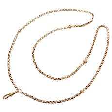"26 1/2"" 9k Gold Rolo Link Watch Fob / Necklace"
