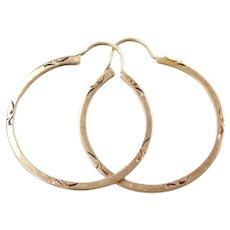 10k Gold Etched Hoop Earrings