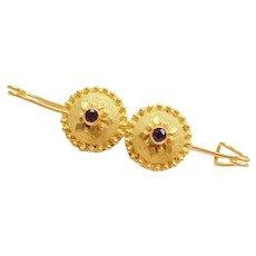 18k Gold Garnet Pin / Brooch