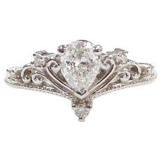 GIA Certified .54 Carat VVS2 Clarity E Color Pear Cut Diamond Princess Crown Ring 14k White Gold ~ .63 ctw