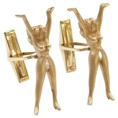 Nude Lady Cufflinks with Marquise Cut Diamonds 14k Gold