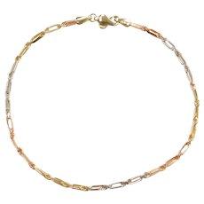 "9"" 14k Gold Tri-Color Milano Rope Anklet"