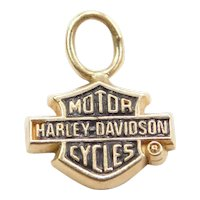 10k Gold Harley Davidson Motorcycle Charm