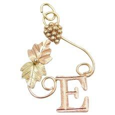 10k Black Hills Gold Tri-Color Leaf Letter E Charm / Pendant