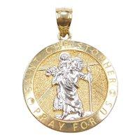 10k Gold Saint Christopher Pray for Us Religious Medallion Pendant / Charm
