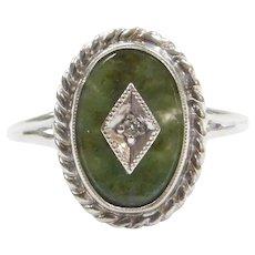1940's 10k White Gold Jade and Diamond Ring