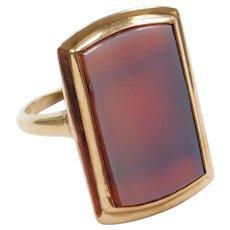 Edwardian 10k Gold Agate Ring