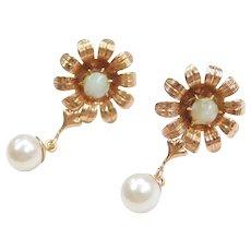 Retro Opal and Cultured Pearl Flower Dangle Earrings 10k Gold