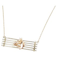 """18"""" Equestrian Horse Head Fence Necklace 14k Gold Two-Tone"""