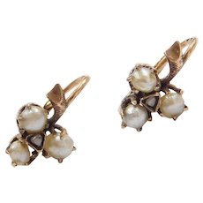 Antique Edwardian Seed Pearl and Diamond Three Leaf Clover Earrings 9k Gold Lever Backs