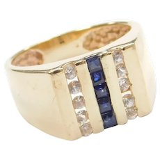.80 ctw Blue and White Sapphire Ring 14k Gold