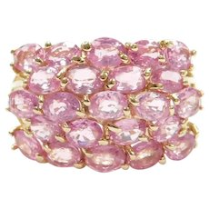 3.91 ctw Pink Sapphire Ring 14k Gold Wide