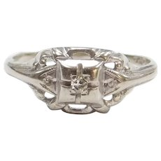 .03 Carat Diamond Art Deco Ring 10k White Gold