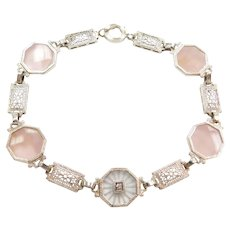 "7 3/4"" Art Deco Rose Quartz, Camphor Glass and Diamond Filigree Bracelet 14k White Gold"