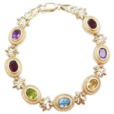 "7 3/8"" 14k Gold 5.95 ctw Colorful Gemstone Bracelet"
