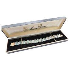 "7"" Lucien Piccard Cultured Pearl and 35.88 ctw Seafoam Blue Green Zircon Bracelet 14k Gold"