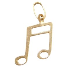 14k Gold Music Note Charm