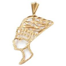 14k Gold Egyptian Nefertiti Charm / Pendant