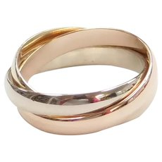 14k Gold Tri-Color Rolling Ring
