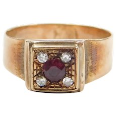 Edwardian .36 ctw Ruby and Diamond Ring 14k Gold