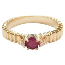 .32 ctw Natural Ruby and Diamond Three Stone Ring 14k Gold