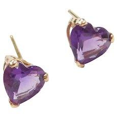 14k Gold Amethyst Heart Stud Earrings