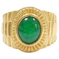 Men's Pure 24k Fine Gold Jade Ring