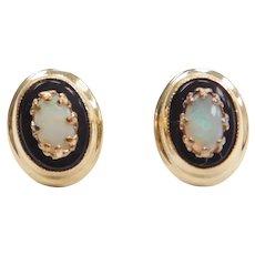14k Gold Opal and Onyx Stud Earrings