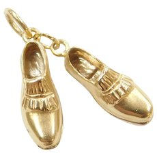 18k Gold Two-Tone Pair of Golf Cleats Charm
