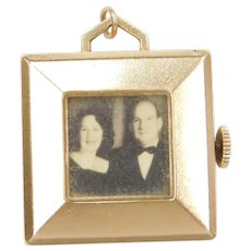 Vintage BIG Rotating Photo Locket / Pendant 1950's 14k Gold
