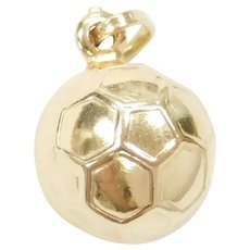 14k Gold Soccer Ball Charm Three Dimensional