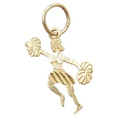 14k Gold Cheerleading / Cheerleader Charm