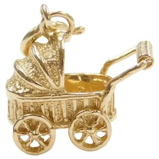 14k Gold Baby Stroller / Carriage Charm
