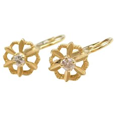 18k Gold .14 ctw Diamond Flower Earrings with Lever Backs