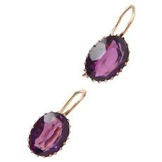 Victorian Purple Paste Earrings 10k Gold