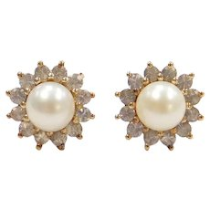 Cultured Pearl and White Sapphire Halo Stud Earrings 10k Gold