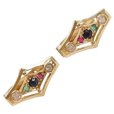 .54 ctw Natural Sapphire, Emerald, Ruby and Faux Diamond Earrings 14k Gold