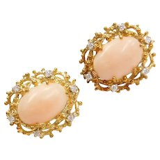 18k Gold Angel Skin Coral and Diamond Earrings